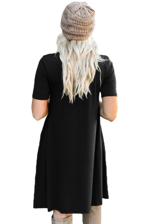 Black Soft Jersey Knit Cross Front Choker Dress