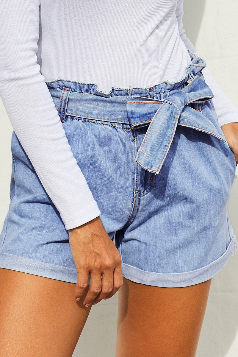 Light Blue Paper Bag Waist Denim Shorts