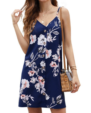 Blue Floral Pattern Buttoned Slip Cami Dress