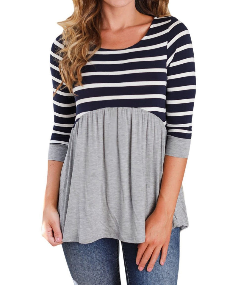 Striped Spliced Gray Contrast 3/4 Sleeve Blouse