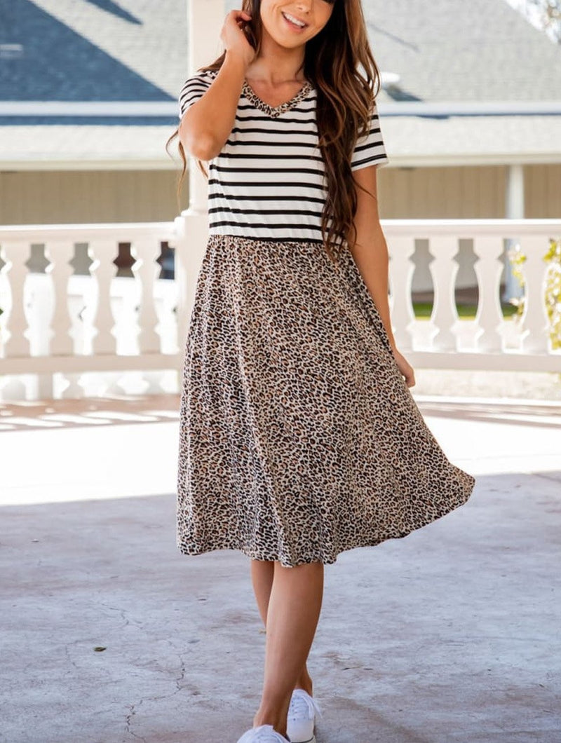 Striped Cheetah Print Swing Dress