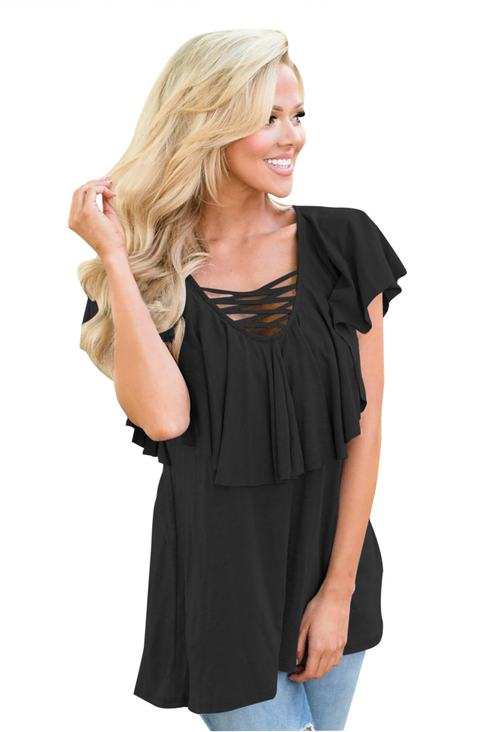 Black Deep V Neck Lace up Ruffle Short Sleeves Top