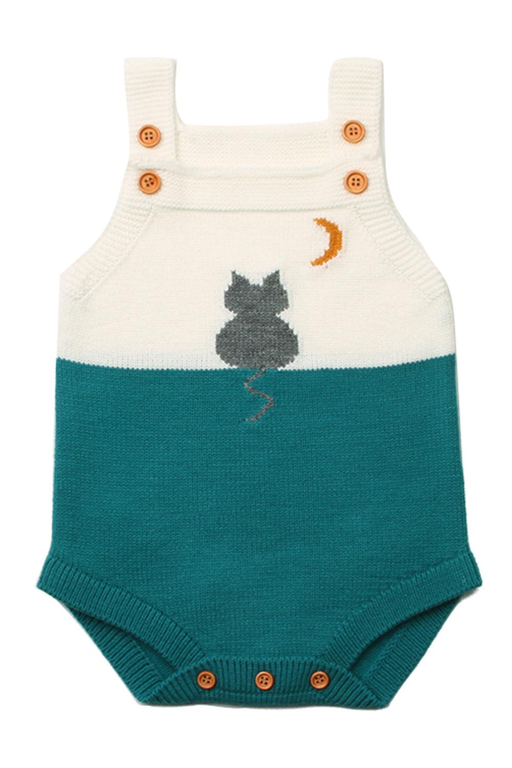 Green Cat Under the Moon Cotton Knit Infant Bodysuit