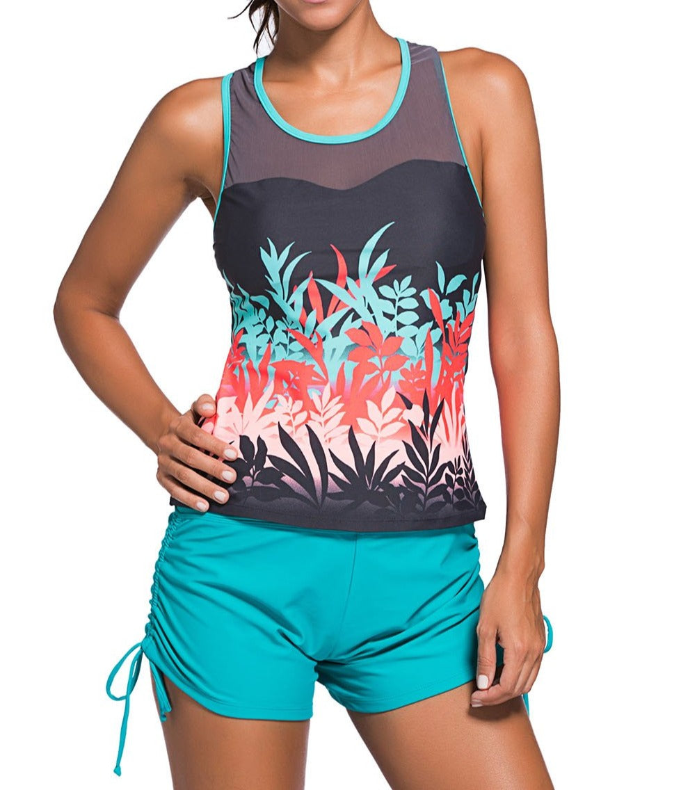 Colored Botanic Print Mesh Splice Tankini Top