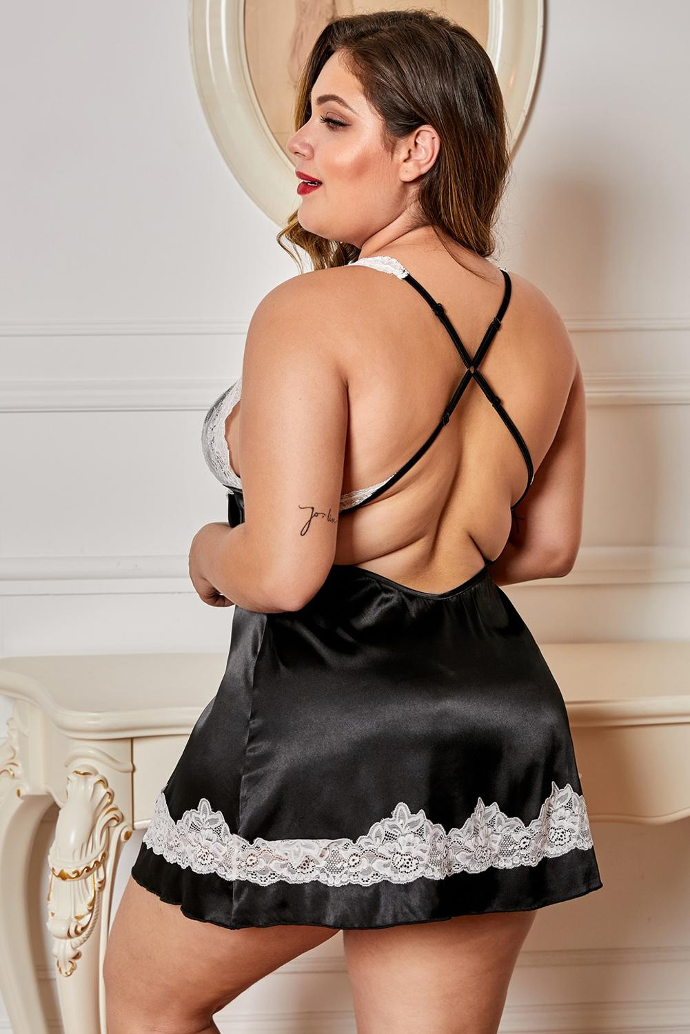 Black Satin Plus Size Babydoll with Lace