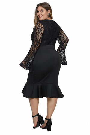Black Lace Bodice Bell Sleeve Ruffled Hem Plus Size Dress