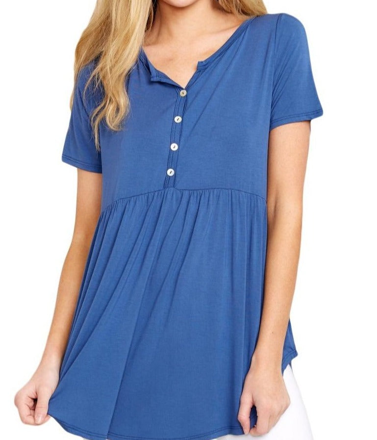 Blue Button Front Babydoll Flowy Tee Top with Pleats