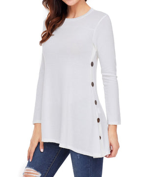 White Button Side Long Sleeve Swingy Tunic