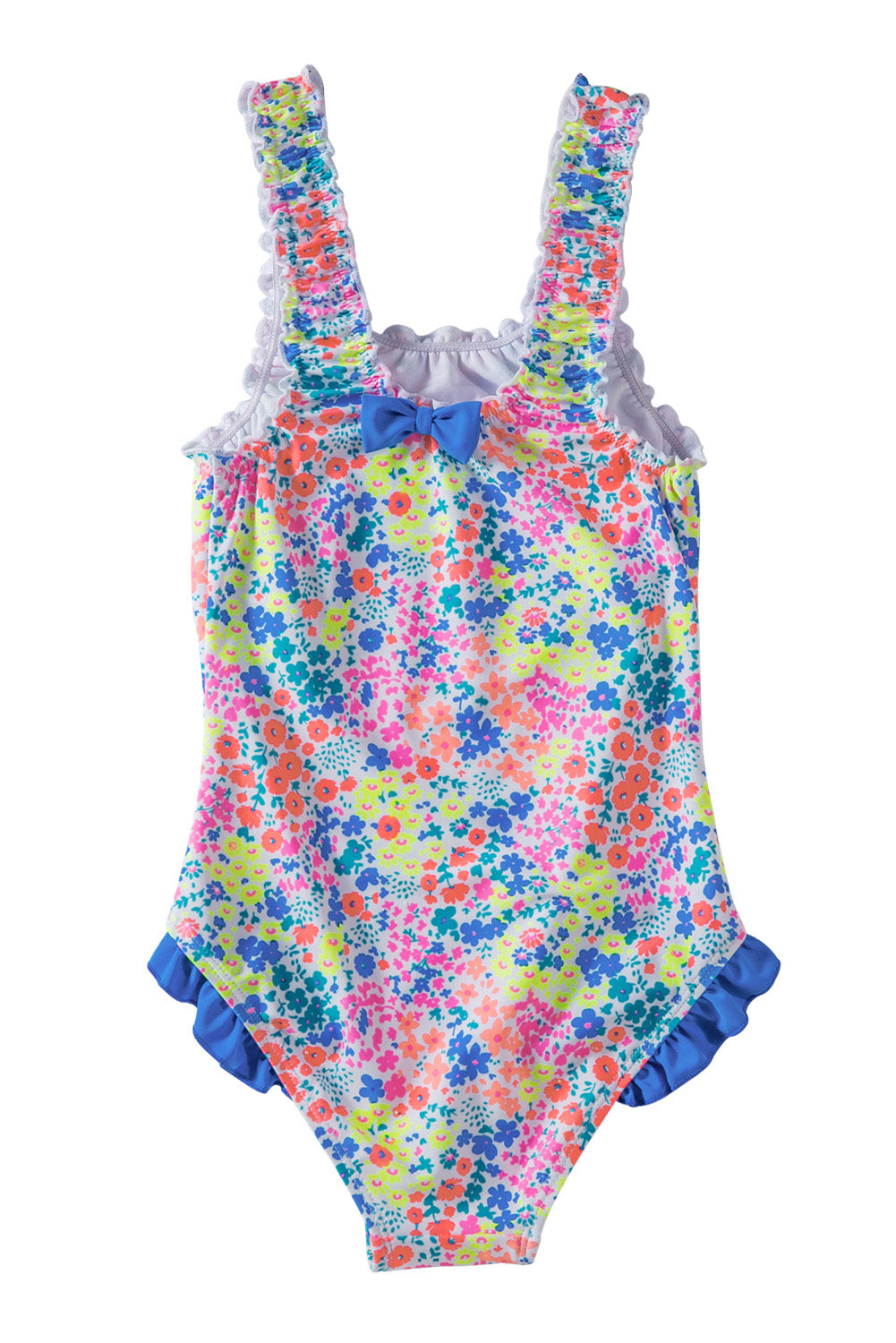 Multicolored Bow Ruffle Girls' One Piece Swimsuit