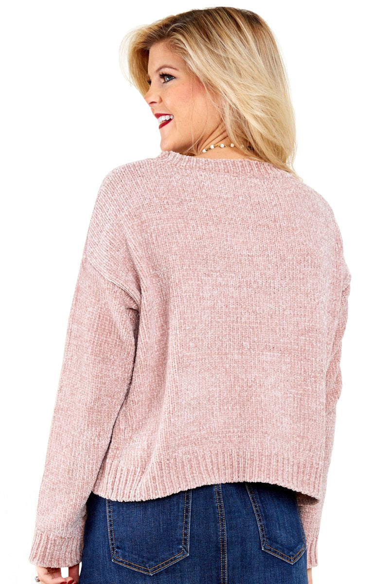 Pink Round Neck Velvet Cropped Sweater