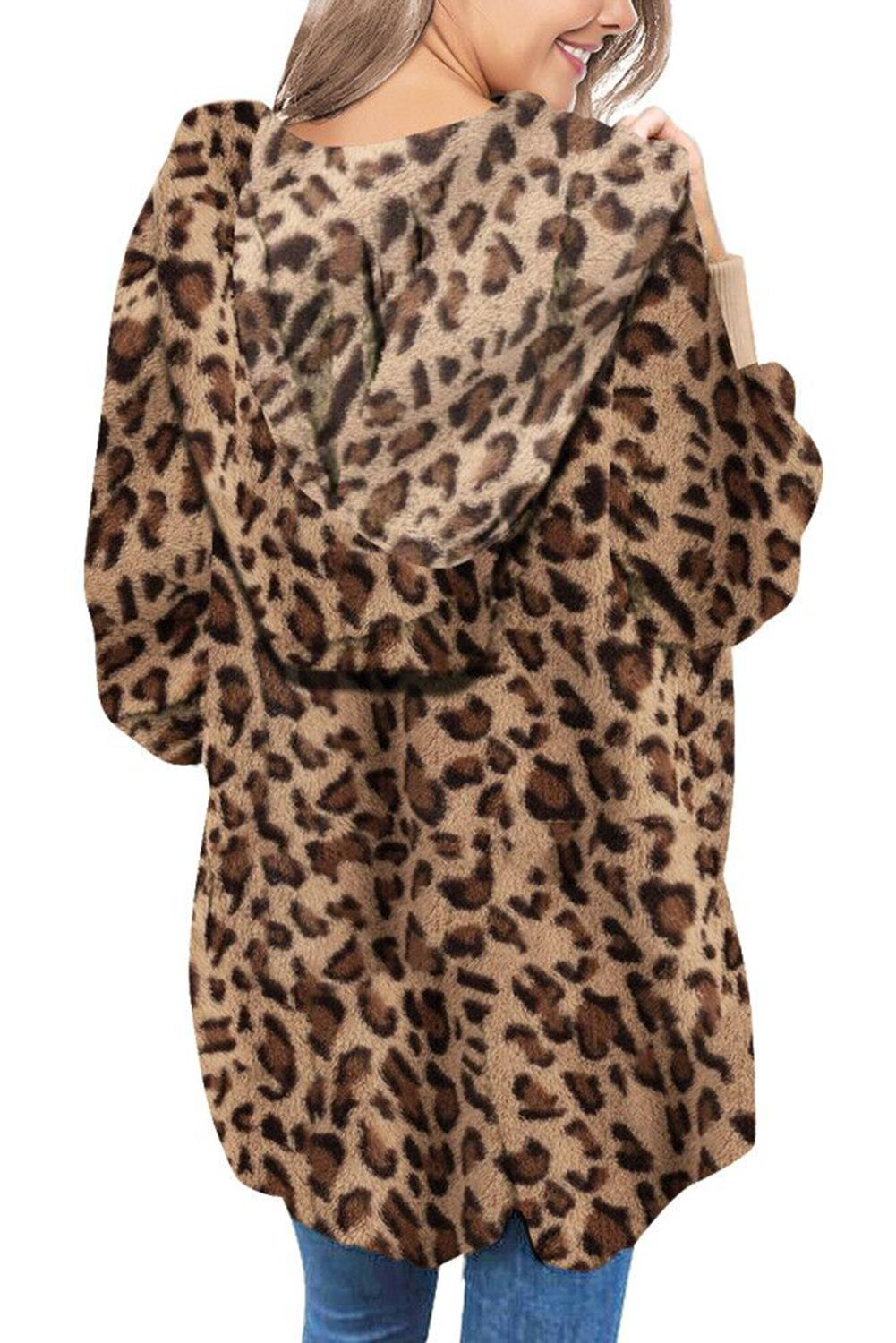 Leopard Soft Fleece Hooded Open Front Coat