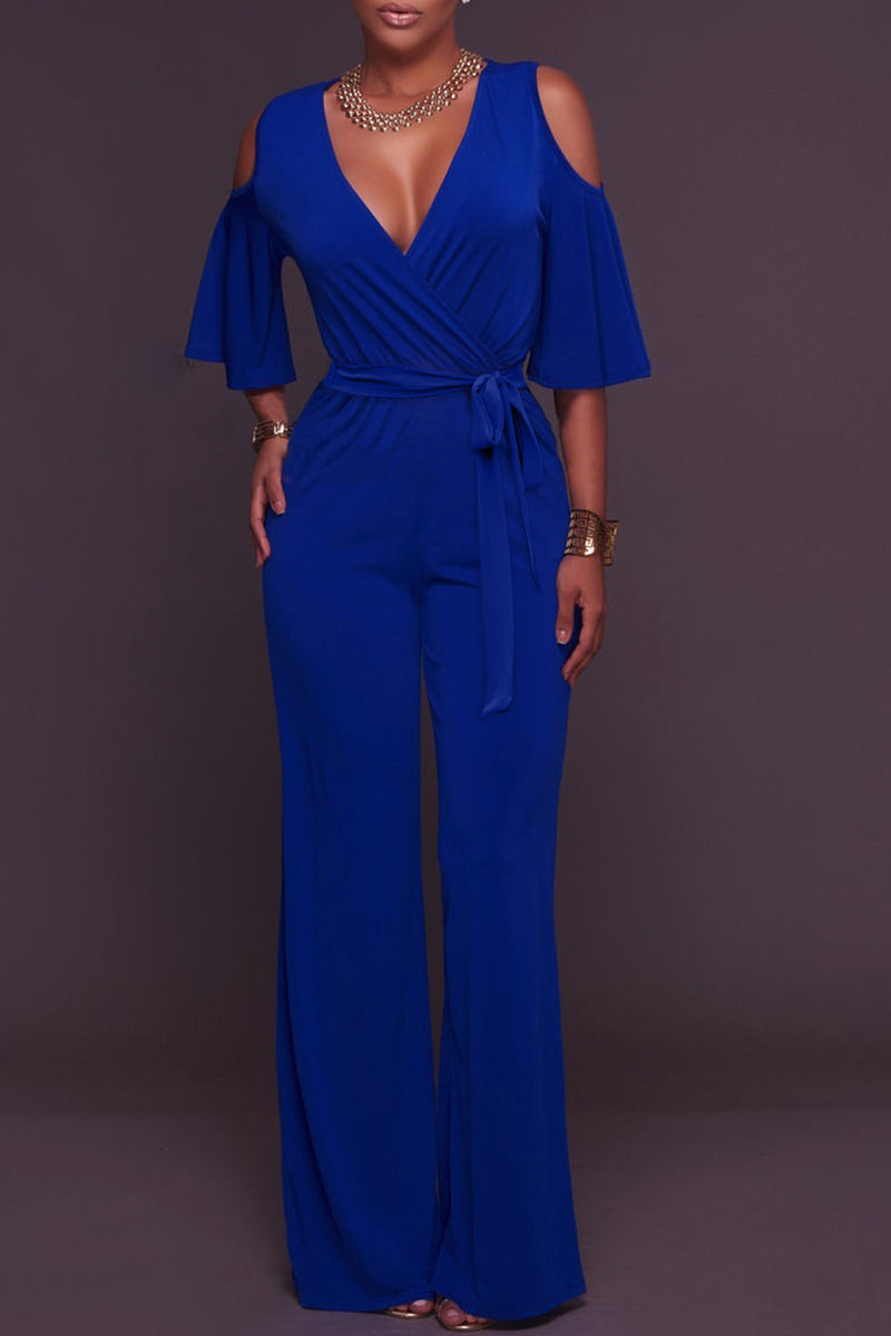 Blue V Neck Straps Wide Legs Long Jumpsuit