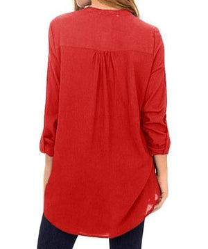 Wine Asymmetric Hemline Roll Tab Sleeve Blouse
