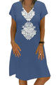Sky Blue Summer Tribal Print V-Neck Shift Casual Dress