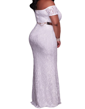 White Plus Size Off Shoulder Lace Gown