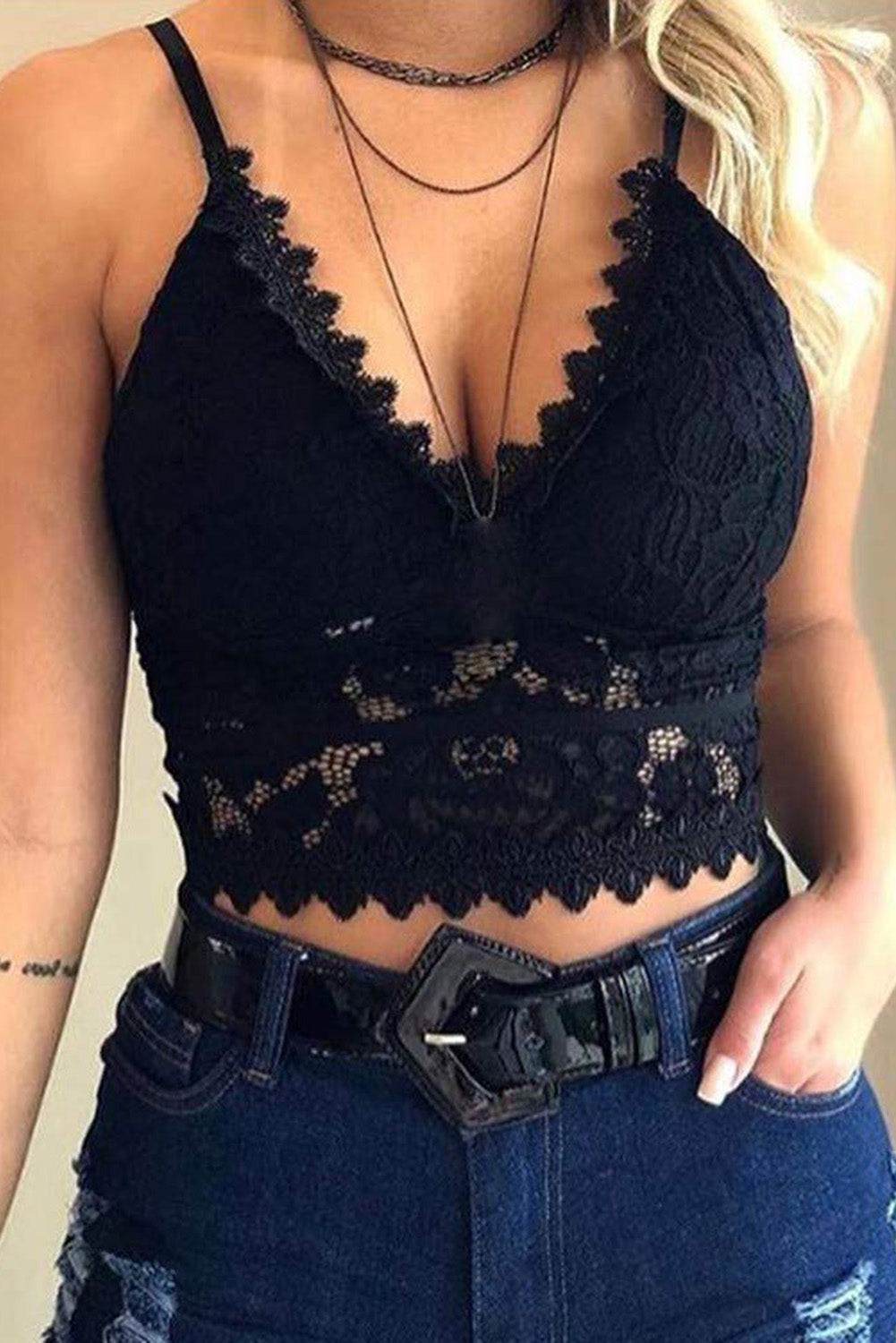 Black Deep V Lace Bralette Crop Top