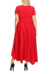 Red Plus Size Jersey Handkerchief Hem Dress