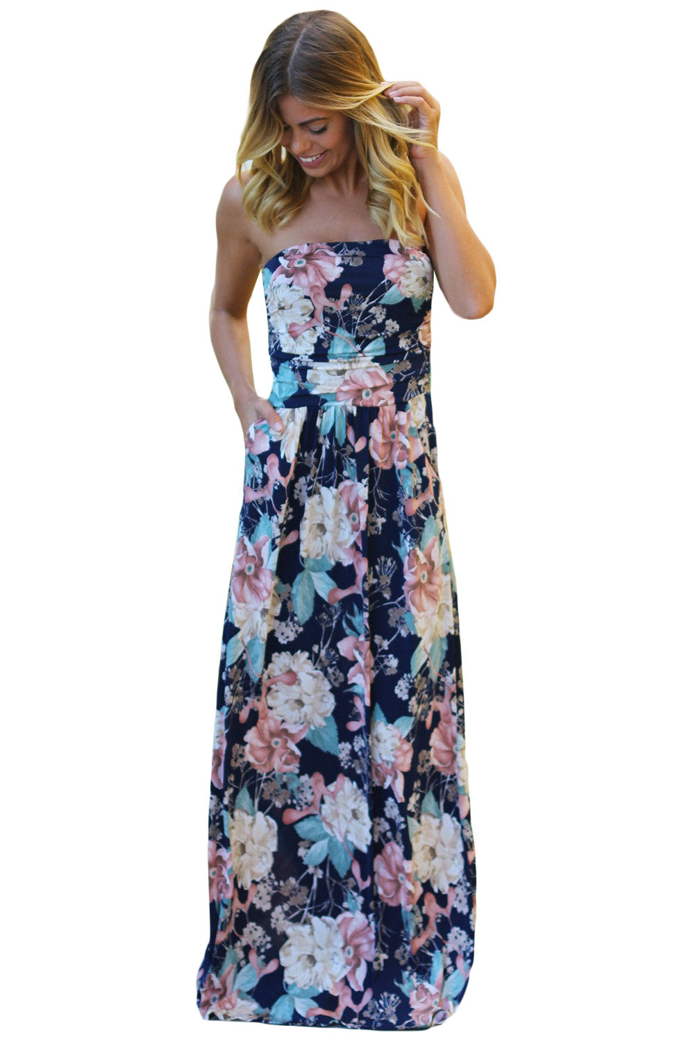 Peach Navy Floral Strapless Maxi Dress with Pockets
