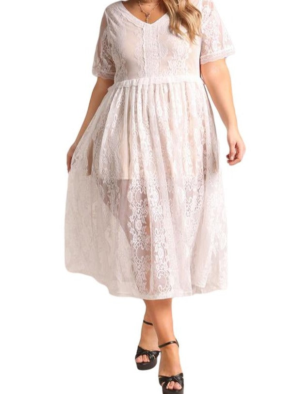 White Plus Size Floral Lace Flared Midi Dress