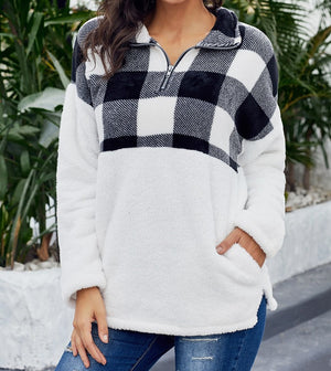 Black Fuzzy Pullover with Plaid Detail