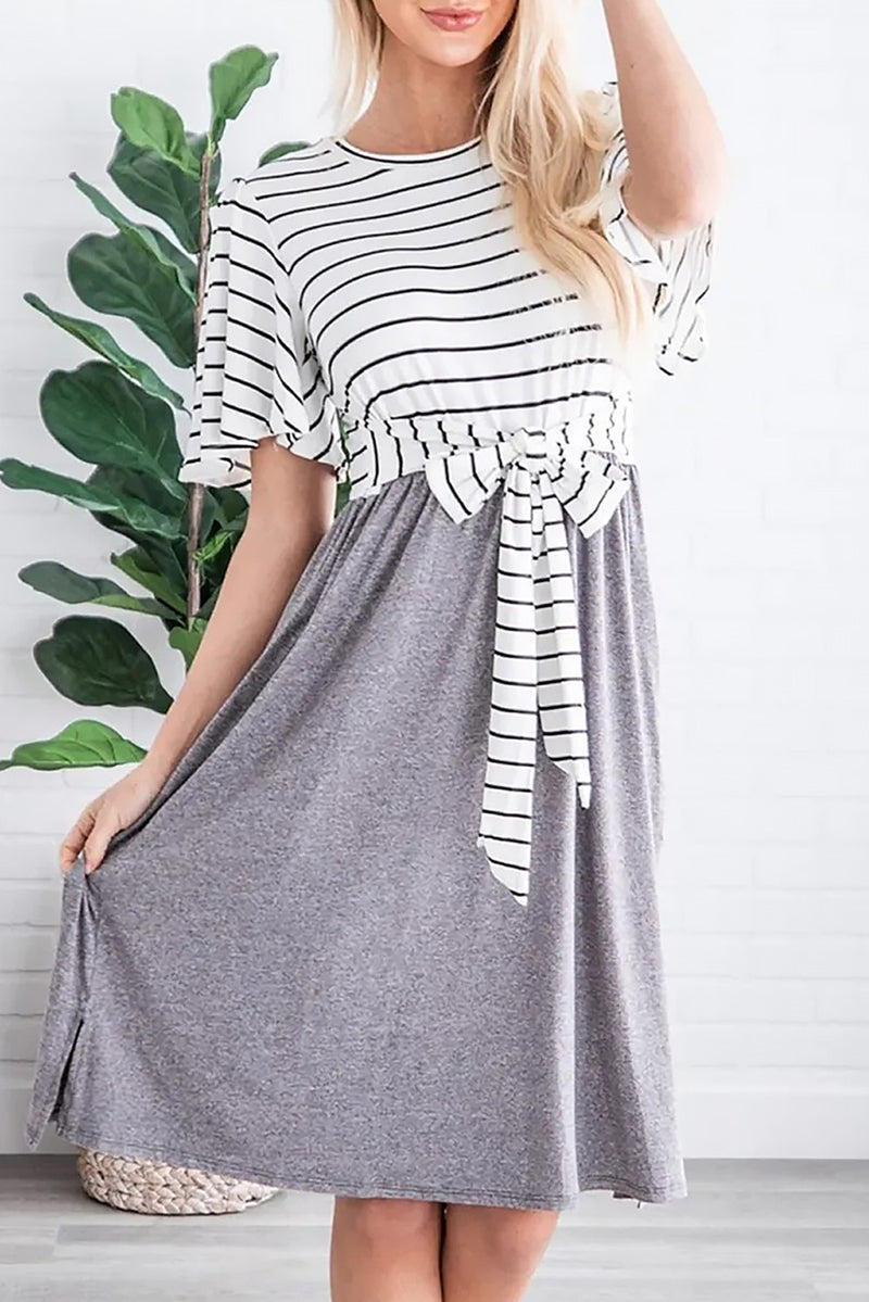 Gray Striped Shirt Tie Front Casual Midi Dress