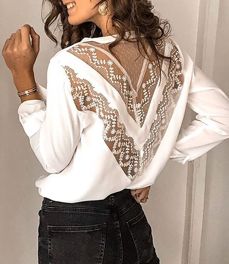 White Patchwork Lace Cut out Backless V Neck Shirt