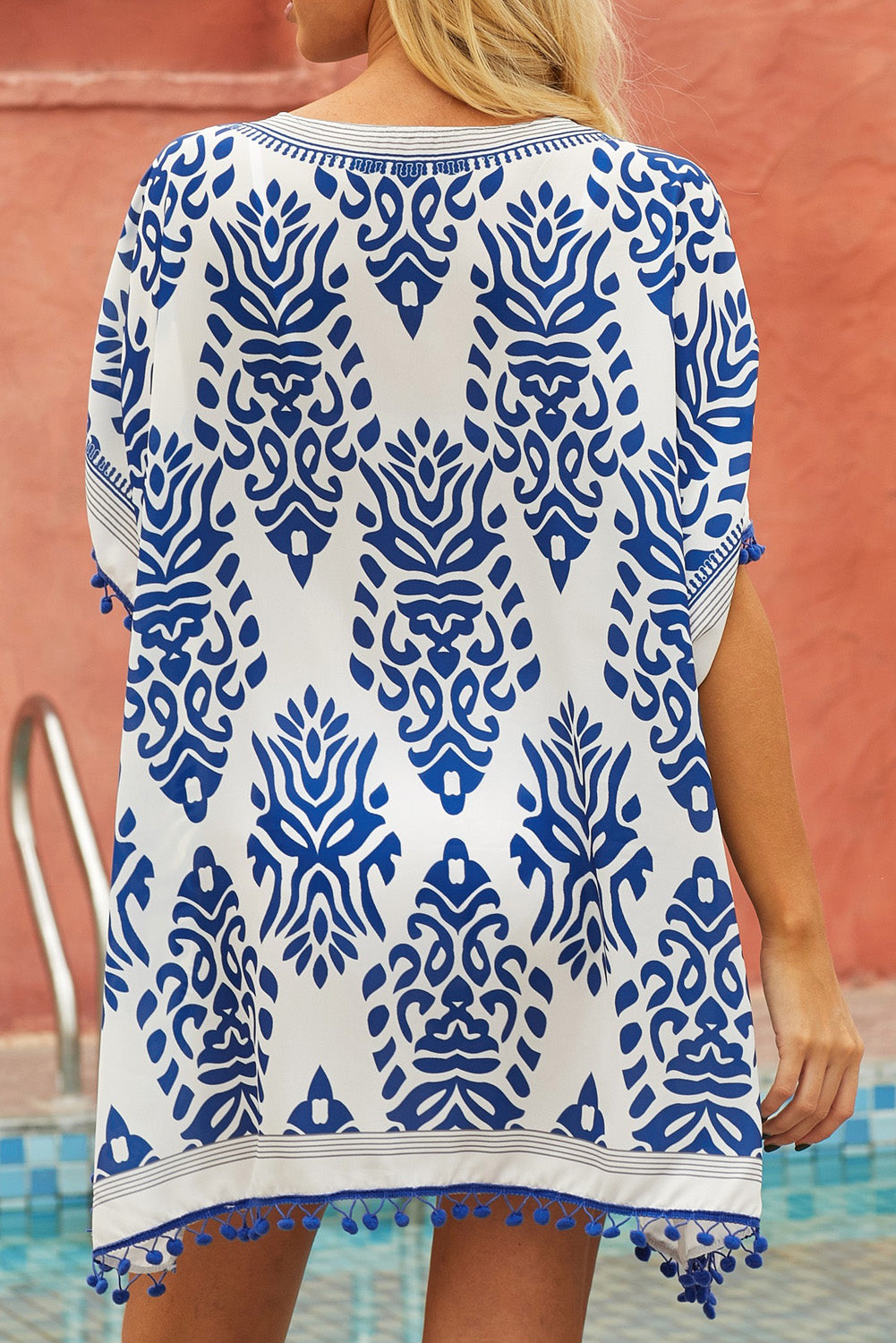 Blue Floral Print Tassel Hem Beach Cover up