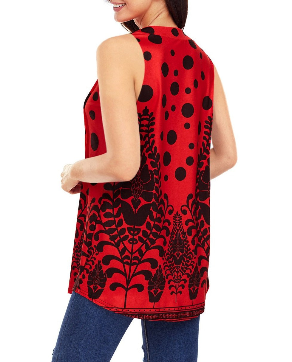 Red Black Floral Print Flowy Tank Top
