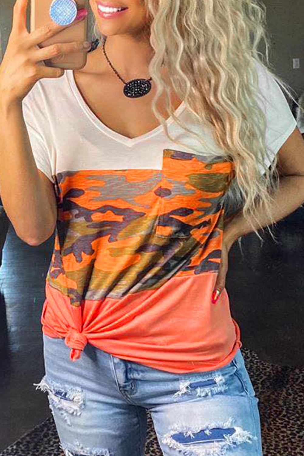 Orange Camo V-Neck Block Tee