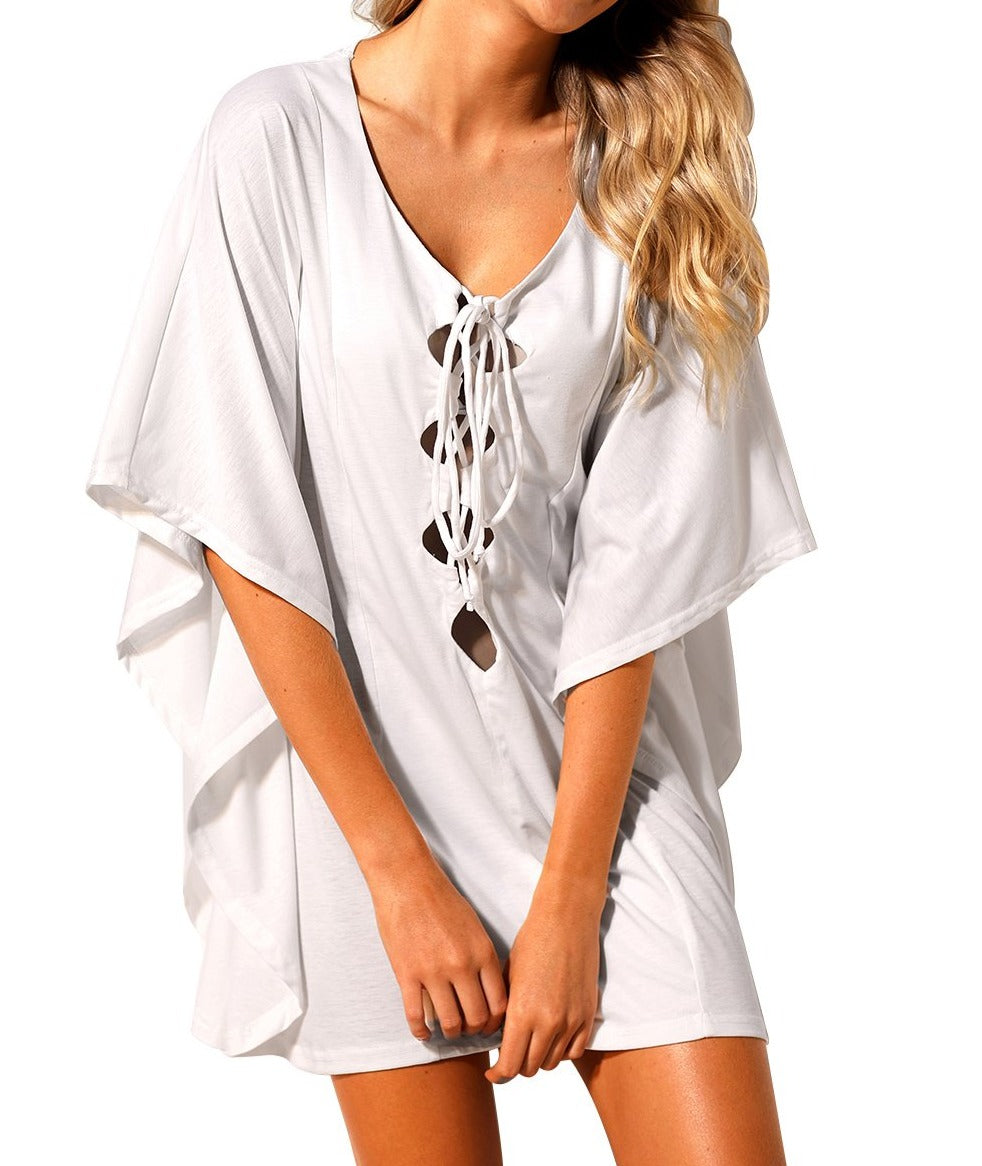 White Lace up Tie Hollow-out Poncho Cover up