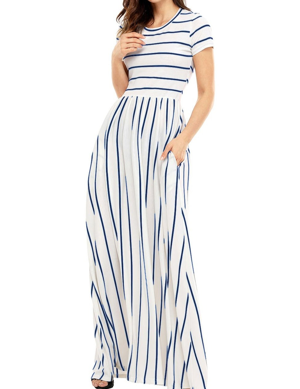 Blue Striped White Short Sleeve Maxi Dress