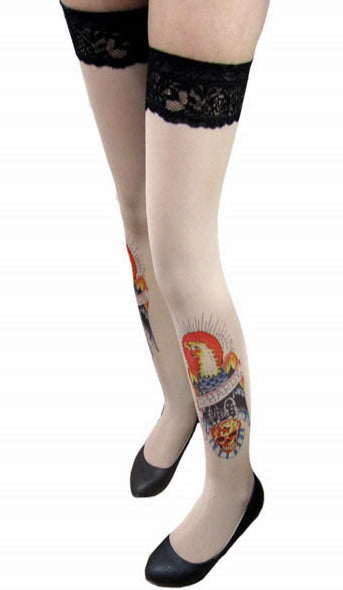 Sunbird Inspired Tattoo Stockings