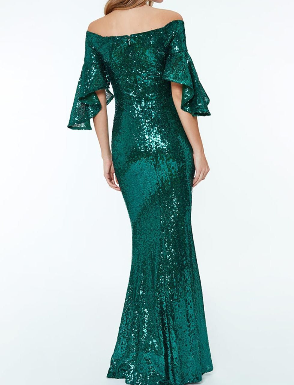 Green Off The Shoulder Sequined Maxi Dress