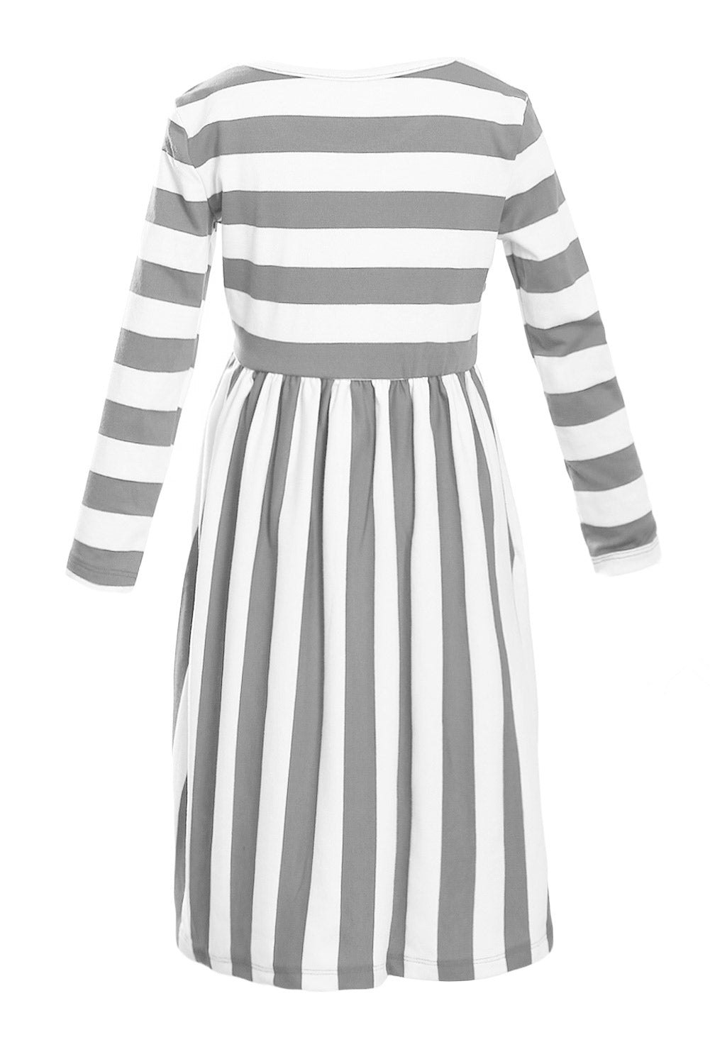 Gray White Striped Long Sleeve Dress for Kids