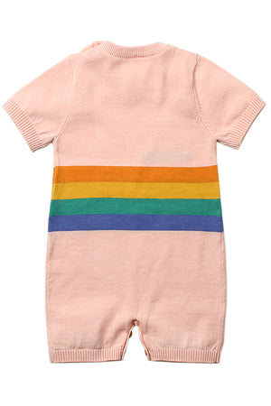 Pink Adorable Shy Sun Pattern Knitted T-shirt Baby Romper