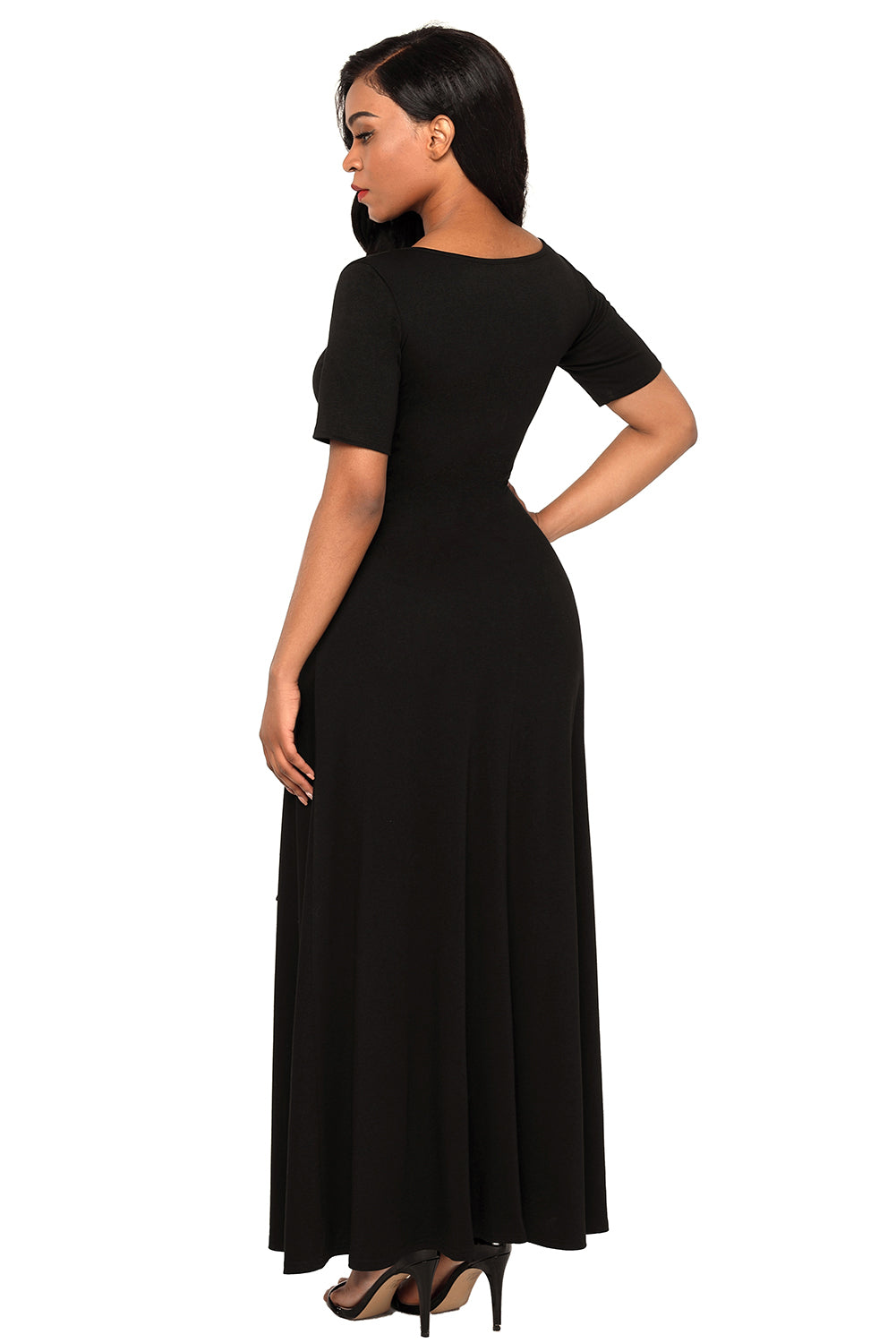Black Wrap Gather Waist A-line Maxi Dress