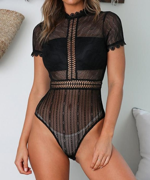 Black Melted Heart Bodysuit