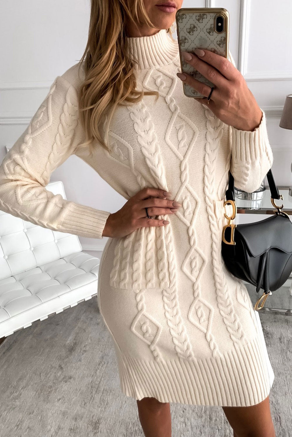 Beige High Neck Textured Bodycon Sweater Dress