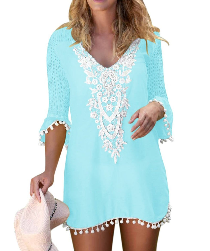 Light Blue Crochet Pom Pom Trim Beach Tunic Cover up