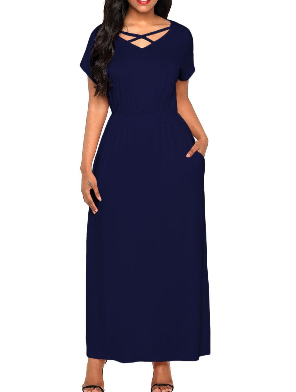 Navy Blue Crisscross V Neck Short Sleeve Maxi Jersey Dress