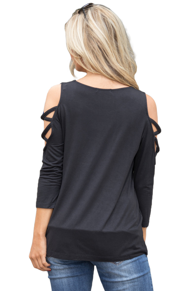 Black Crisscross Cold Shoulder Quarter Sleeve Blouse