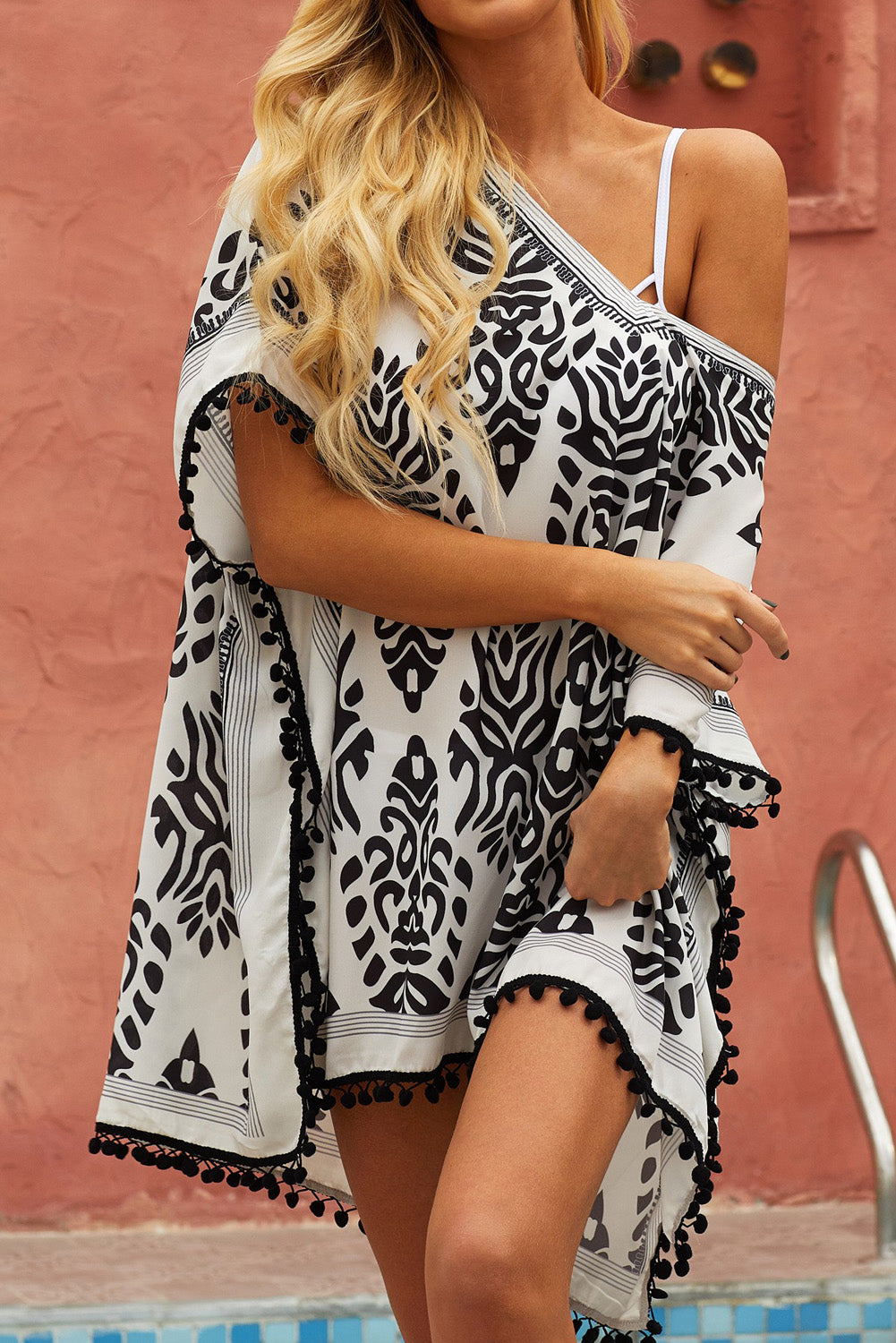Black Floral Print Tassel Hem Beach Cover up
