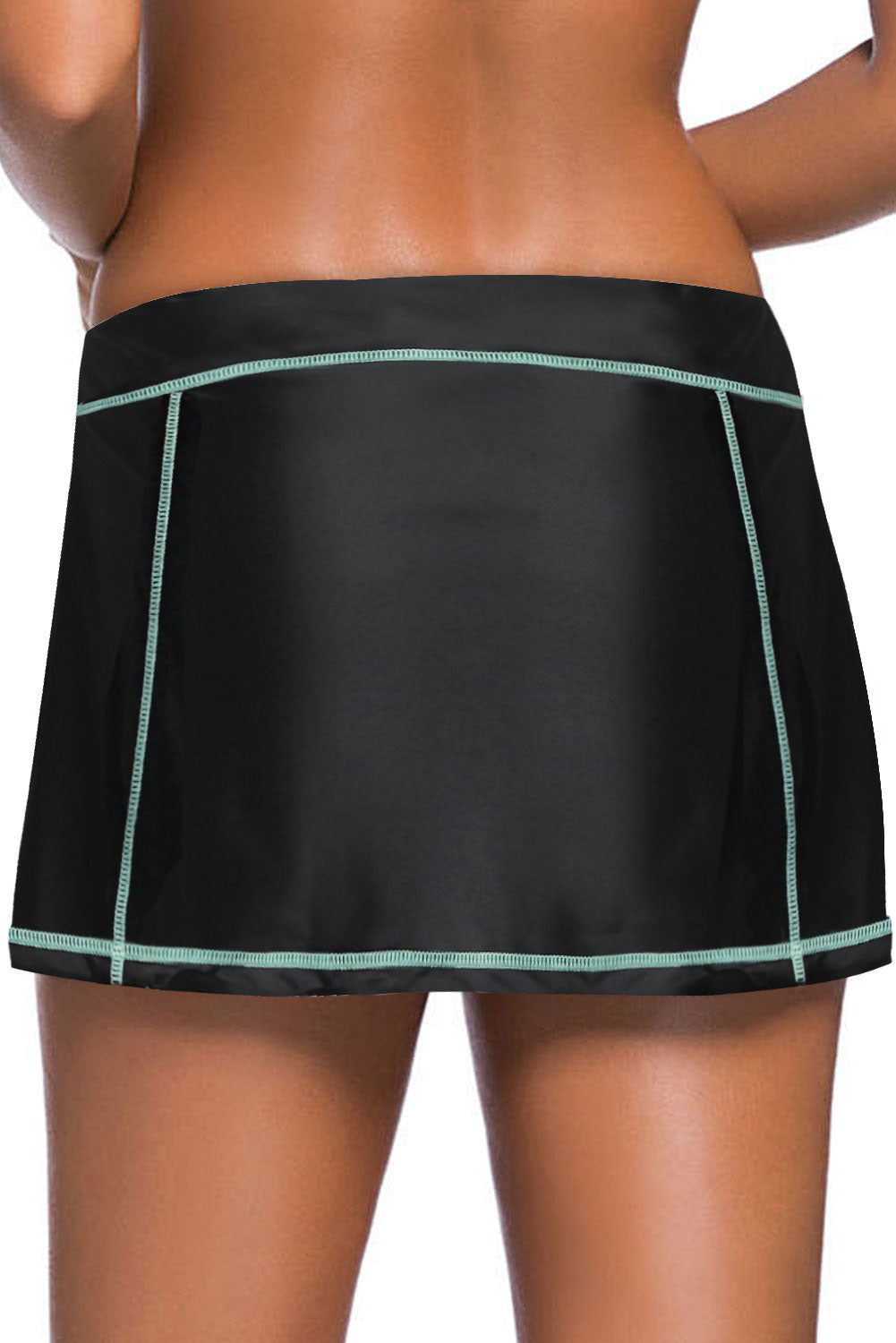 Mint Blue Stitch Trim Black Swim Skirt Bottom