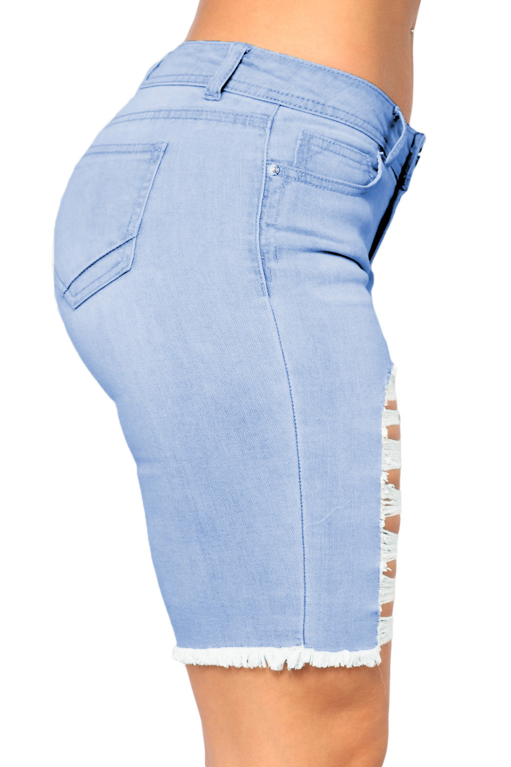 Sky Blue Making Waves Denim Bermudas