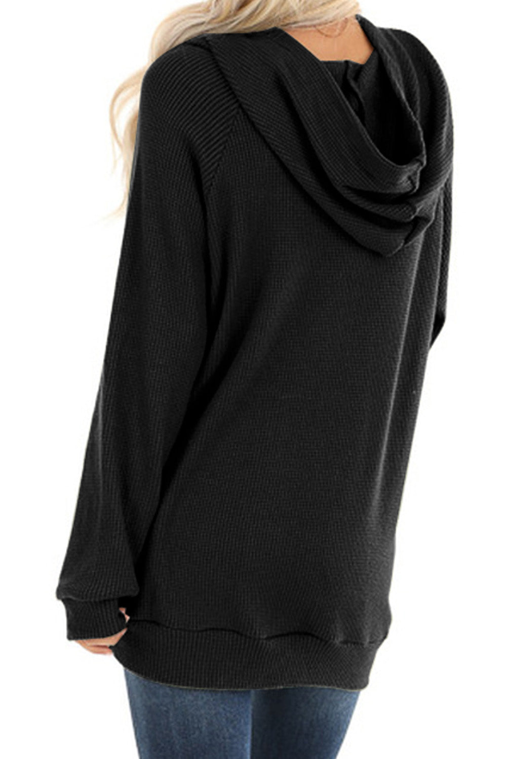 Black Waffle Knit Hooded Top with Asymmetrical Button Detail