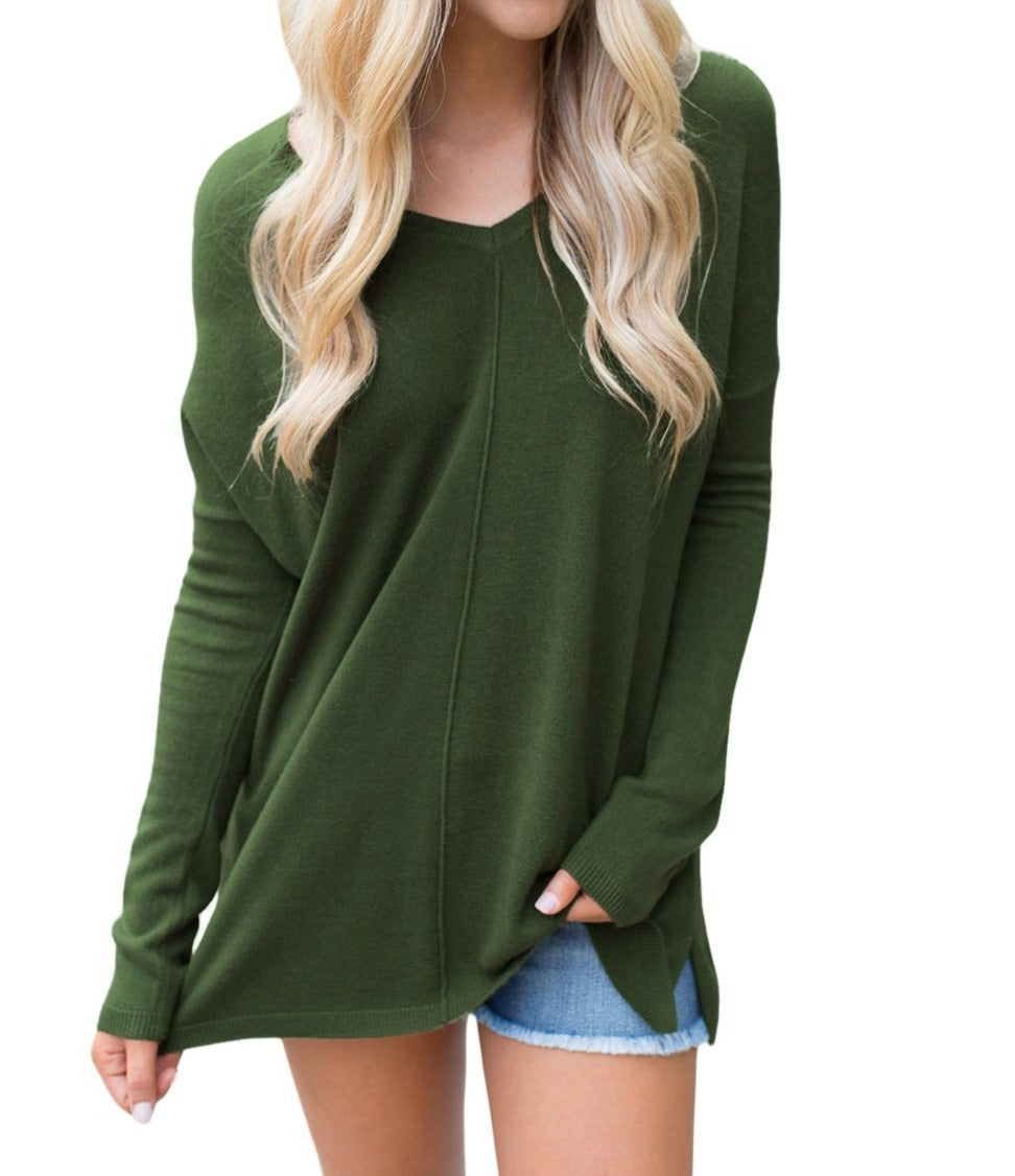Army Green Soft V Neck Sweater