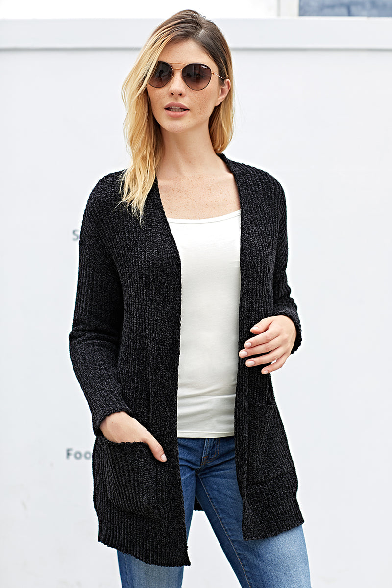 Black Long Sleeved Sweater Cardigan with Pockets