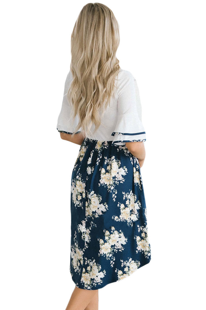 White Top Flora Skirt Layered Bell Sleeve Dress