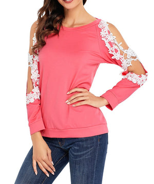 Lace Trim Cold Shoulder Coral Long Sleeve Top