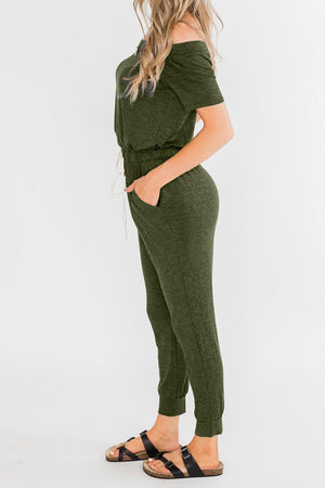 Green Living My Life Drawstring Jogger Jumpsuit